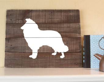 Collie Silhouette -  Reclaimed Wood Sign