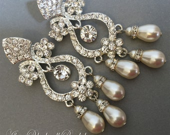 Long Pearl Bridal Earrings in Ivory with Rhinestone Chandelier Earrings Swarovski Cream Ivory Teardrop pearls  2.75 inches wedding earrings