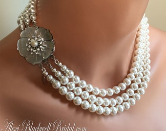Bridal Pearl Necklace Set  Swarovski Pearls 3 strands and Fancy Rhinestone Clasp Earrings included - wedding jewelry sets