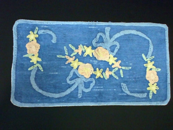 1940s Blue Floral Chenille Throw Rug 19 X 36 Good Unisex