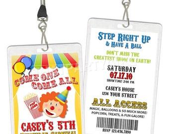 Clown Carnival Circus Birthday Party VIP Pass Style Invitations - Printable DIY
