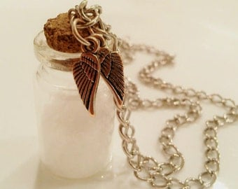 SALE Supernatural Inspired Salt Necklace Supernatural Jewelry Salt And Burn Angel Wings Vial Bottle Tween Gifts R18