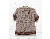 Indian Gauze Blouse S • Paper Thin Block Print Buttondown Shirt Small | T238
