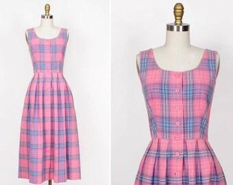 Lanz Dress S • Pink Plaid Cotton Dress Small    D256