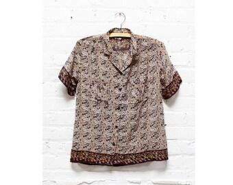 Indian Gauze Blouse S • Paper Thin Block Print Buttondown Shirt Small | T238