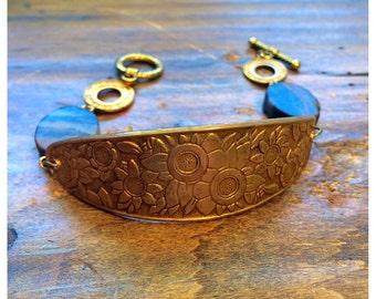 Vintage brass and beaded toggle bracelet