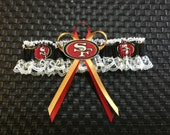 Single, San Francisco 49ERS handmade wedding garter or prom, new style.