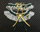 Green Bay Packers handmade wedding garter or prom set new style.