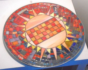 """Steampunk Stained Glass Mosaic Glass Art Platter Table Top Coffee Table """"Star Stuff"""" Astrological Art Mantel Piece"""