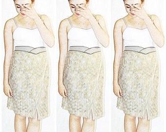 Vintage 1970s MISSONI Cream Gray Tan Chevron Zig Zag Knit Cross Front Skirt Italy 29 to 38 Inch Waist