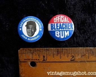 Juan Marichal  SF Giants 2 Sixties Original Baseball Pinback Buttons plus Official Bleacher Bum