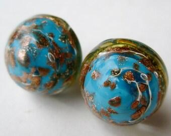 Vintage Italian Murano Blue and Gold Swirl Aventurine Gold Fleck Art Glass Round Pierced Earrings