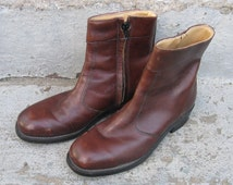 mens iron age leather safety boots size 7 c brown leather ankle boots beatle boots vintage 1970s fashion