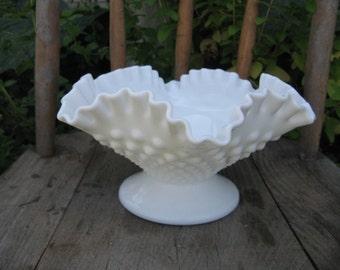 fenton hobnail bon bon bowl vintage fenton milk glass ruffled edge cottage chic