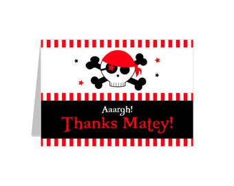 PRINTABLE Pirate Party Thank You Card - Daysigns by Day - INSTANT DOWNLOAD