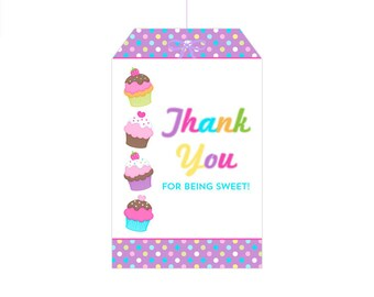 50% Off Sale! - PRINTABLE Cupcake Party Hang Tag - INSTANT DOWNLOAD