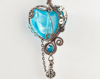 OOAK Aqua blue steampunk heart pendant with key
