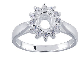 Sterling Silver 7 x 5mm Oval Semi-Mount Ring Mounting with CZ'z, Ring Blank