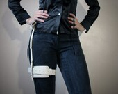 Real Leather Single Thigh Harness  - White - steampunk - burning man - festivals - apocalypse - mad max, Please read Description for size
