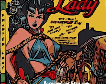 PHANTOM LADY Superhero Super girl Art Print Cheesecake Pin Up Mature