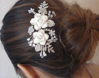 Light Ivory / White Rhinestone Encrusted Enamel Flowers, Gold or Silver Tone Bridal Hair Comb, Wedding Flower and Leaves Headpiece - Stella
