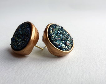 gold edged mineral earrings