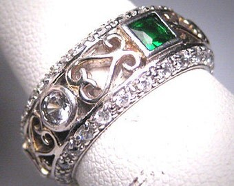 Vintage Emerald Diamond Eternity Band Ring Wedding Engagement Anniversary Ring Sz 7