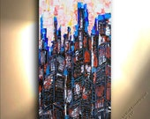 Hand Painted Highrise Building Painting City Cityscape Landscape art Heavy Textured Town Vertical Oil Artwork Fine art canvas by OTO