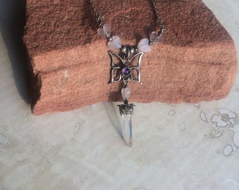 Silver butterfly necklace with purple amethyst, pink rose quartz, and a quartz point dangle