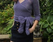 Ballerina top/sweater/cardigan/wrap over jumper, hand knitted in purple mohair mix yarn size approx 32/33 in bust, other sizes to order.