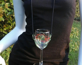 Turned and Twisted Wire Wine Glass Holder Necklace in Lime Green