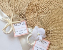 Palm Leaf Hand Fans with Small Tag, Raffia Fans, Wedding Fans, Beach Wedding Programs, Wedding Favors