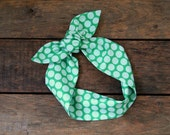green polka dot headscarf, retro, tie up headband, adjustable, summer fall fashion, knotted headband, under 15