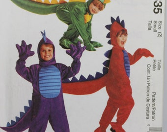 Size 2 Toddler Child Kids Boys Girls Dragon Lizard Jumpsuit Hood Paws Hands McCalls 2335 Costume Girls Uncut Sewing Pattern