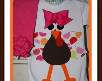 Cutest Turkey Ever Bodysuit or Shirt - Sizes 3M 6M 12M 18M 24M 2T 3T 4T 5T 6 8 10 12 - Infant Toddler Youth Girls Thanksgiving Turkey Top
