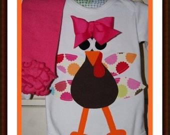 First Thanksgiving Baby Girl My Turky Bodysuit Set - Baby Girl First Thanksgiving