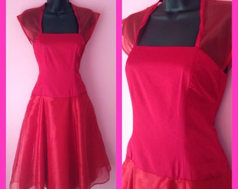 Vintage Red Satin Pin Up Retro Vixen Party Dress Size Medium