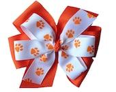 Stacked Orange White Paw Print Hair Bow, Clemson Cheerleader Gear, Clemson Tiger Hair Bow, Auburn Hair Bow