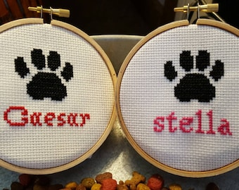 "Pet Custom Ornament Wall Art 4"" Cross Stitch Sets Available"