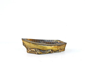 Brass boat figurine paperweight vintage gift for him home office nautical decor