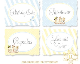 Blue Tiny Trio Buffet & Party Signs by Loralee Lewis