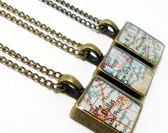 CUSTOM Square Vintage Map Necklace. You Select Location Worldwide. One Necklace. Travel Map Pendant. Travel Map. Personalized Gifts For Her