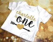 Personalized 1st Birthday Glitter shirt bodysuit crown first birthday baby girl toddler glitter shirt ONE Black and Gold Glitter Baby Girl