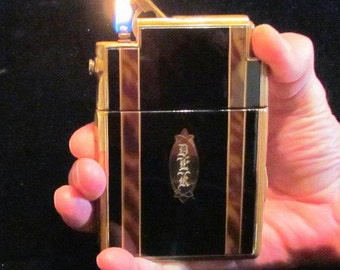 Marathon Cigarette Case Lighter 1940s Art Deco Gold And Enamel Case In Working Condition