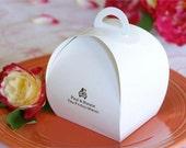 "100 Personalized Favor Boxes, Bulk Wedding Favor Boxes, Wholesale Wedding Favor Boxes, Favor Box Size: 3.5"" x 3"" x 3.5"", Cake Favor Box"