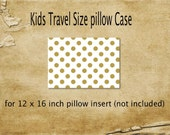Pillowcase,travel size pillowcase, gold dot pillowcase