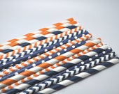 ORANGE & NAVY BLUE Assorted - Qty 25 - Stripe Paper Straws - Paper Party Straws - Wedding - Baby Shower