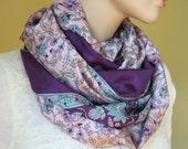 Scarf Beautiful Sari Scarf Versatile Upcycled VINTAGE Sari - floral pink plum blue - autumn winter accessories