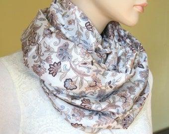 Scarf Beautiful Sari Scarf Versatile Upcycled VINTAGE Sari - beige cream brown green blue - autumn winter accessories