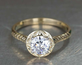 Unique Diamond Engagement Ring in 18k Yellow Gold Hand Carved Art Nouveau, 1 carat diamond engagement ring